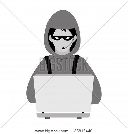 flat design of grey and black computer hacker with hoodie and mask vector illustration
