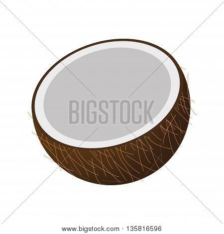 flat design half coconut icon vector illustration