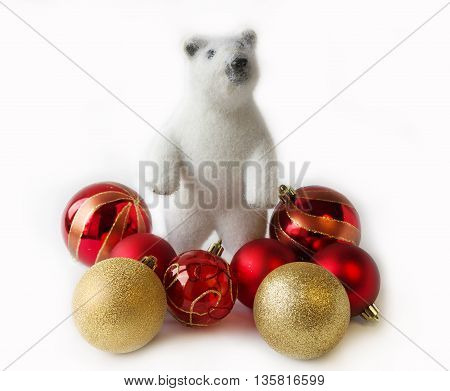 Christmas decoration and polar bear. Christmas design.