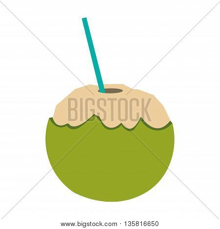 flat design tropical coconut cocktail with straw vector illustration