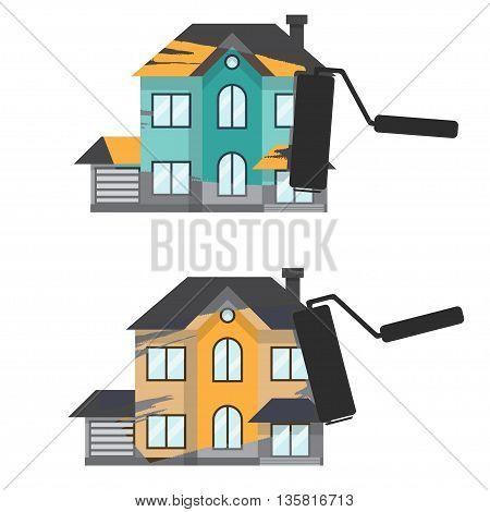 Concept renovation illustrations.House remodeling flat design house with paint roller.Vector