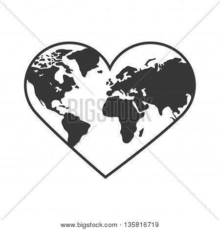 Planet concept represented by earth in form of heart shape icon. isolated and flat illustration