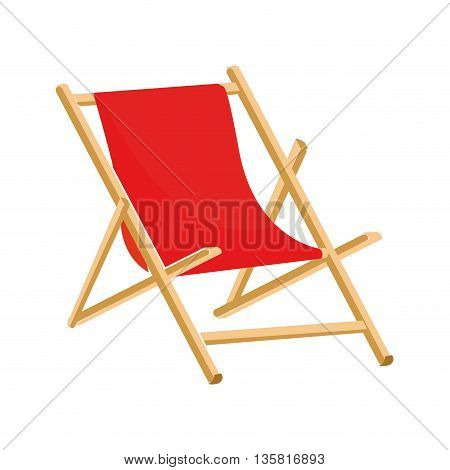 flat design red beach chair icon vector illustration