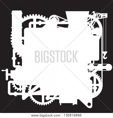 White silhouette of the complex fantastic machine on black. Industrial and Steampunk style poster and  background. Vector illustration