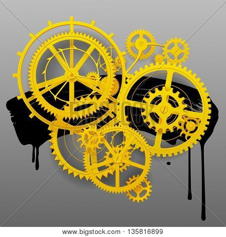 Yellow gear wheels of clockwork with black blot on gray. Techno symbol and background. Vector Illustration