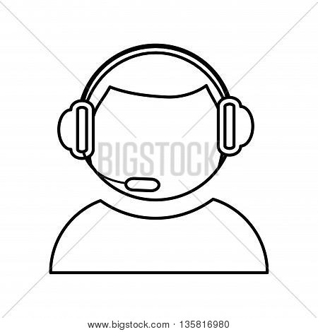 Call center concept represented by Operator man icon. isolated and flat illustration