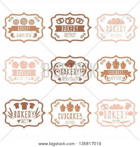 Collection Of Vintage Retro Bakery Logo Labels With Bread,pretzel,croissant,cupcake And Spike. Vecto