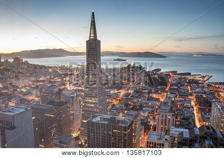 San Francisco, California, U.S.A - April 26, 2015: San Francisco Financial District and Bay at Dusk