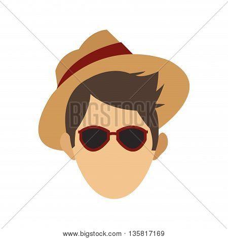 flat design male tourist head wearing hat sunglasses vector illustration