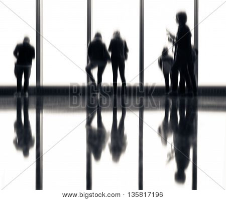Blurred Image Of People In The Lobby