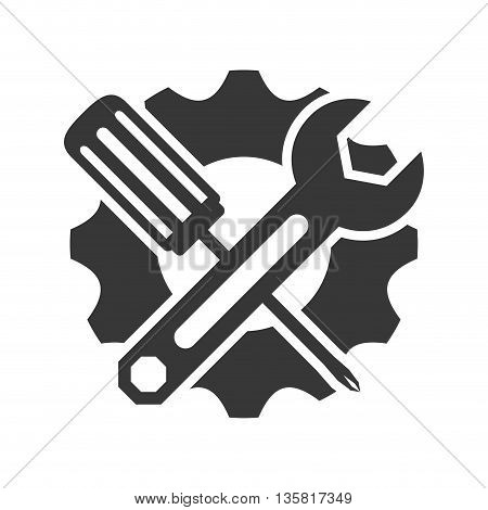 Tool concept represented by wrench and screwdriver icon. isolated and flat illustration