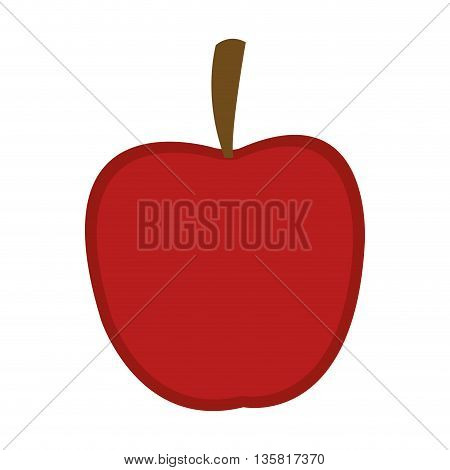 simple flat design of red whole apple vector illustration