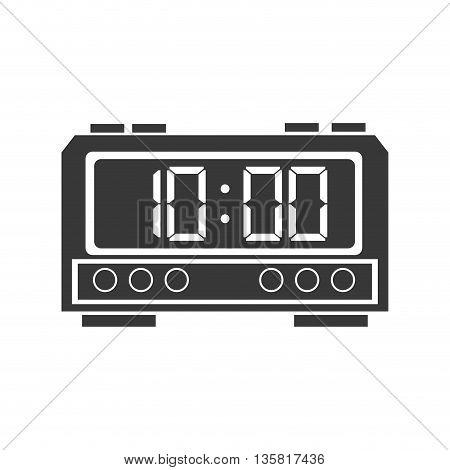 grey flat design digital alarm clock icon vector illustration