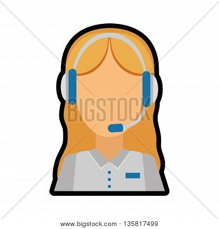 Call center concept represented by Operator woman icon. isolated and flat illustration