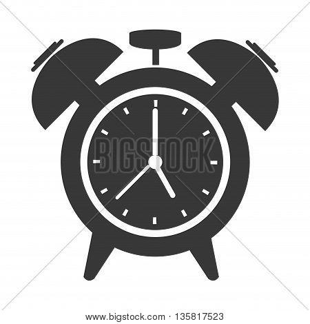 grey flat design analog alarm clock vector illustration