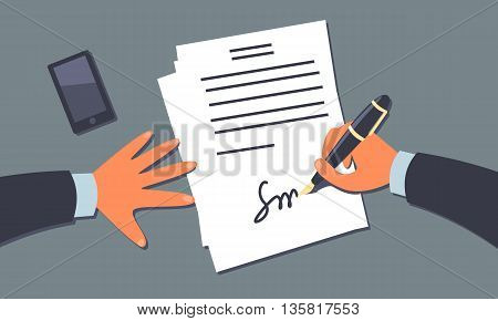 Businessman signing the document. Subjective view perspective. Cartoon style illustration. Clipping mask used.
