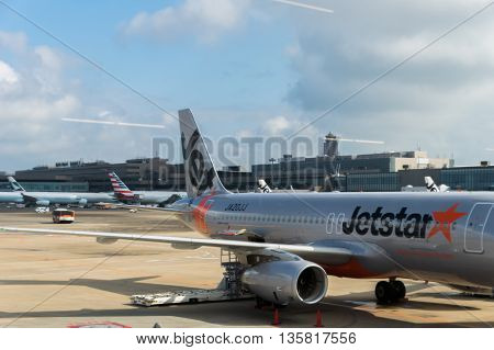 TOKYO, JAPAN - circa JUNE 2016: Jetstar Aircraft towed at Narita International Airport, Japan. Jetstar Airways Pty Ltd, trading as Jetstar, is an Australian low-cost airline headquartered in Melbourne, Australia. Jet Star Japan is their sister airline.