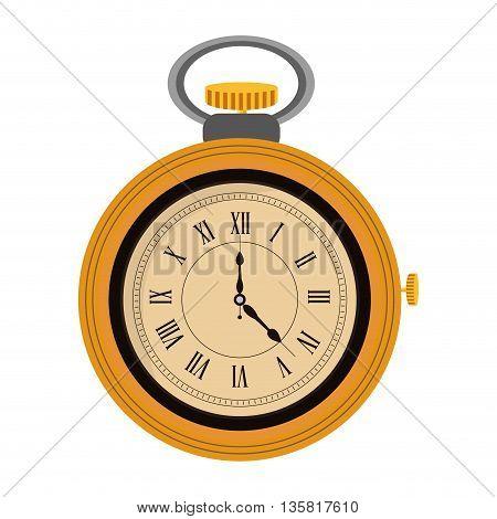 yellow flat design pocket watch icon vector illustration