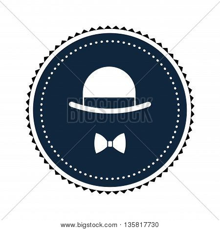 simple flat design vintage hat and bowtie inside round badge vector illustration