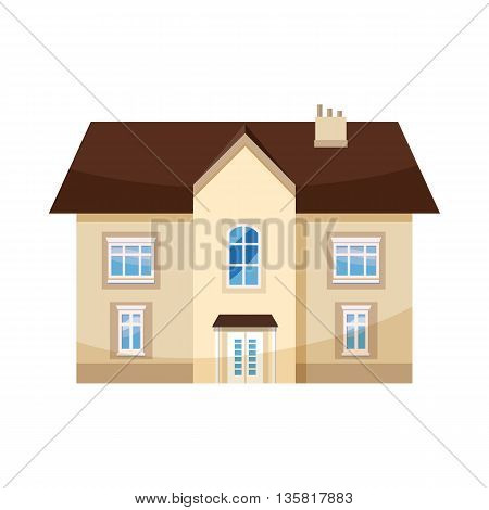 Two storey house icon in cartoon style on a white background