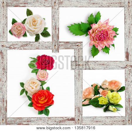 Collage of a different flowers. Artificial flowers made from sponge rubber