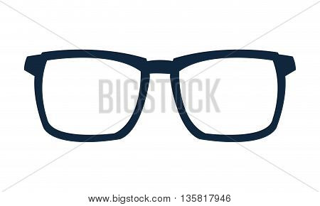 simple flat design blue frame glasses icon vecto illustration