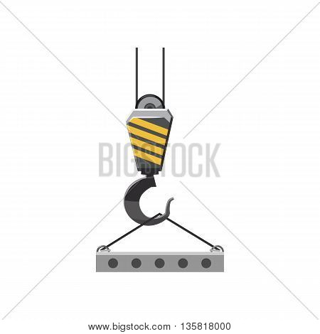 Industrial hook with reinforced concrete slab icon in cartoon style on a white background