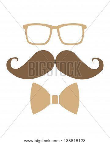 simple flat design glasses mustache bowtie icon vector illustration