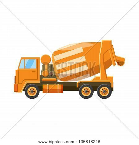 Orange truck concrete mixer icon in cartoon style on a white background