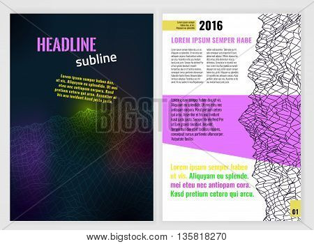 Vector business brochure template. Bright modern backgrounds for poster, print, flyer, book, booklet, brochure and leaflet design. Editable abstract graphic image in futuristic style