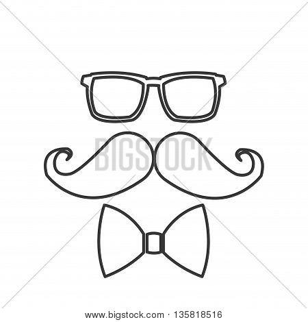 simple black line glasses mustache bowtie icon vector illustration