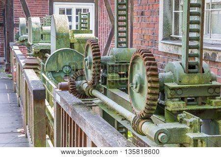 Cogwheels of the old grain mill in Nordhorn Germany