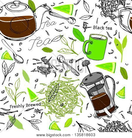 Handdrawn vector illustration. Seamless pattern with tea leaves, lemons, teapot, mug, teacup and spoon. Black ink drawing on a white background.