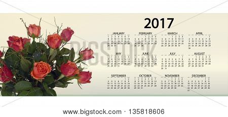 calendar 2017. size and a clear timetable 2017 for businessmen lovers day month year