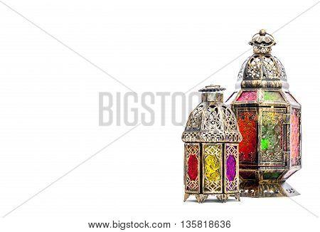 Golden arabic lantern. Oriental holidays decoration on white background