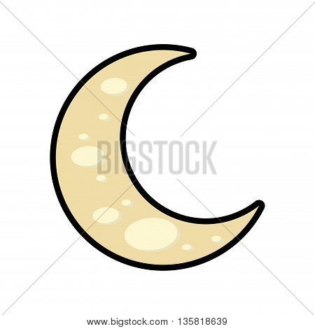 Night concept represented by moon cartoon icon. isolated and flat illustration