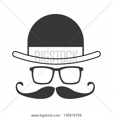 grey simple flat design hat glasses mustache bowtie icon vector illustration