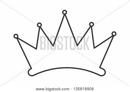 simple black line crown silhouette vector illustration