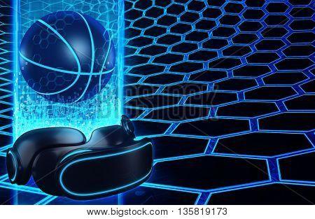 Virtual Reality VR Basketball 3D Illustration