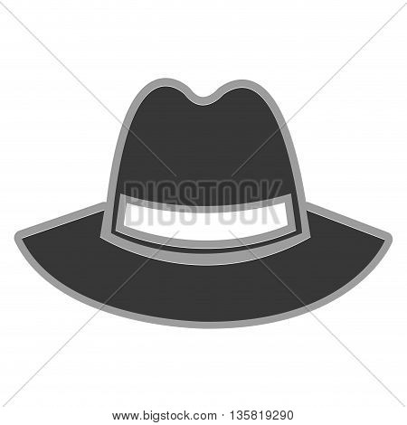 grey simple flat design of vintage hat vector illustration