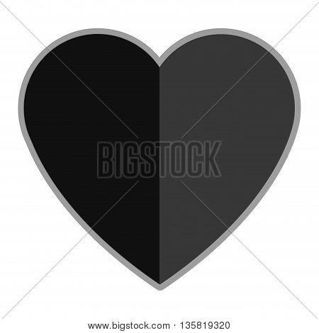 grey simple flat design solid heart vector illustration