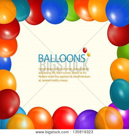 Party Balloons Frame Over Light Cream Background with Sample Text
