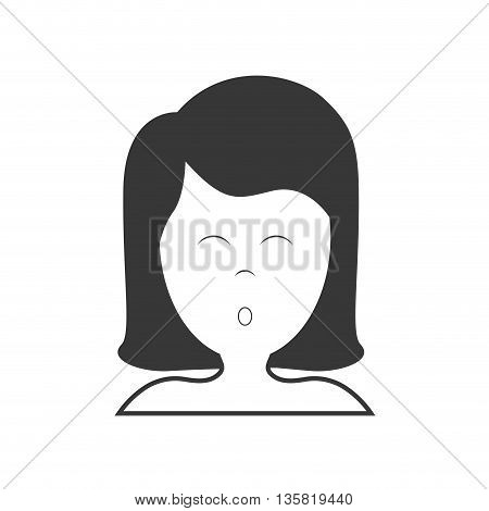 Resting and sleep concept represented by girl sleeping icon. isolated and flat illustration