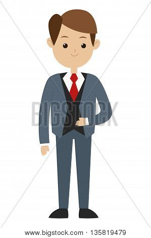 flat design brown hair man wearing formal suit with tie vector illustration