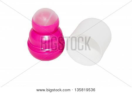 roll-on deodorant with white cap isolated on white background
