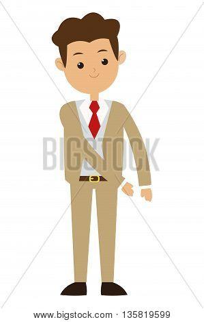 flat design brown hair man wearing beige formal suit with tie vector illustration