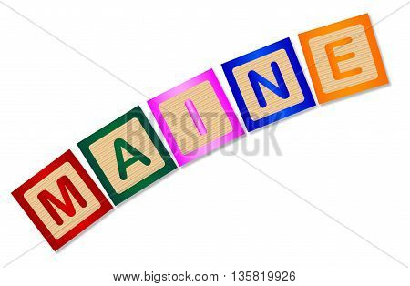 A collection of wooden block letters spelling Maine over a white background