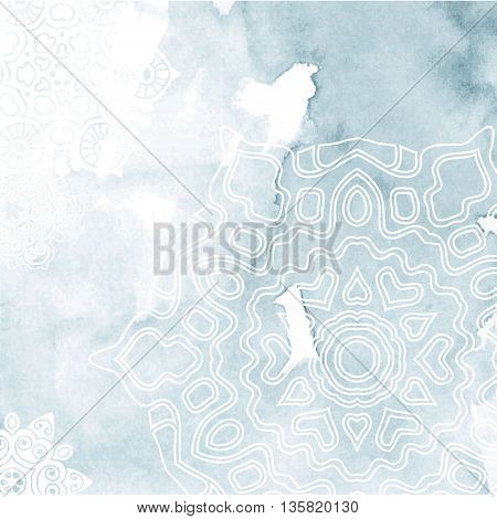 Abstract background with contour snowflake. Vector illustration
