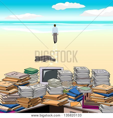 Cluttered. Beach. One goes along the beach away from the cluttered desktop throwing jacket . Vector illustration.