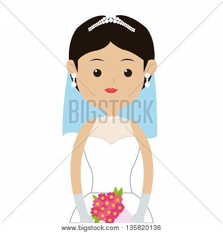 flat design portrait of caucasian bride wearing tiara with veil and bouquet icon vector illustration